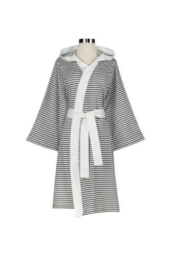 - Nine Space Stripe Robe, Large/XL, White/Silver