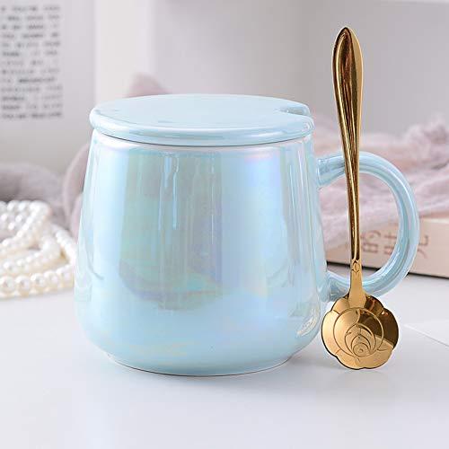 CLX Tassen Kaffeetassen Untertassen Teegläser Marmor Muster Tasse Mit Deckel Löffel Keramik Kaffeetasse Schale Set Becher Startseite Wasser Tasse Tee Tasse Perlmutt,Blau