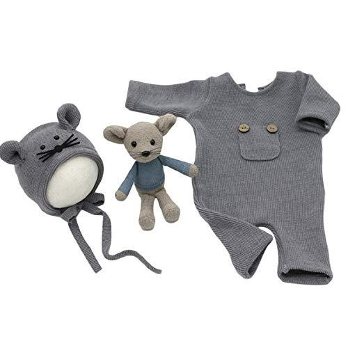 DaMohony 3 Piezas Trajes de Accesorios de Fotografía de Bebé Recién Nacido Mameluco de Punto + Sombrero de Ratoncito + Muñeca de Rata