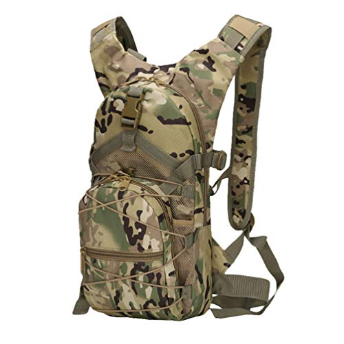 Ketamyy Military Backpack Camouflage Bicycle Casual Waterproof Multi-Pocket Durable Travel Tactical Hiking Trekking Climbing Sports Small Backpack 15L Men Women Bag Army Day Pack CP Camouflage
