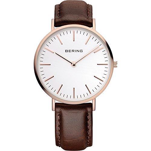 BERING Reloj Analógico para Hombre de Cuarzo con Correa en Cuero 13738-564