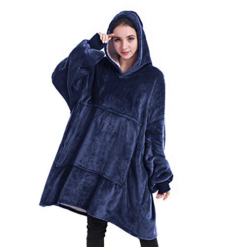 DNC Wearable Blanket  Hoodie Blanket for Women and Men Thick Flannel Blanket with Sleeves and Giant Pocket Super Warm and Cozy Oversized Hoodie