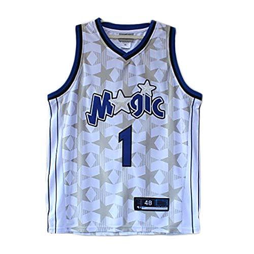 YSPORT Orlando Magic #1 McGrady Basketball Trikots/Shorts Gesticktes Netz Fans Atmungsaktiv Tragbar Schnelltrocknend (Color : White-a, Size : S)
