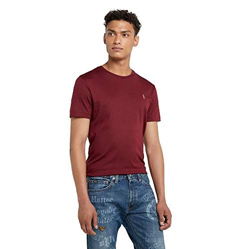 Ralph Lauren T-Shirt Basic da Uomo Custom Slim Fit (XL, Maroon)