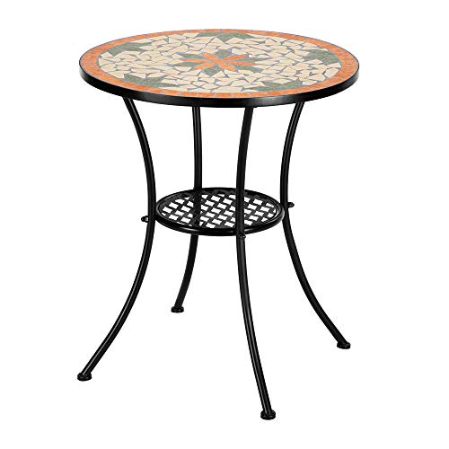 Heavy Duty & Durable Outdoor Mosaic Bistro Table Set Patio Pub Dining Folding Chair Weather Great for Swimming Pool, parlors, Bedrooms, Balconies, lawns, Backyards, Gardens (Desk)