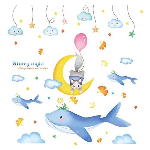 Starlight Whale Sky Kindergarten Wanddekoration Tapete Aufkleber Baby Kinderzimmer Cartoon Tapete selbstklebend-Starlight Whale sky_Extra groß