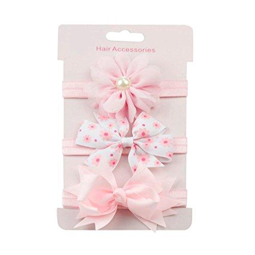 erthome Baby Haarnadel, Kinder elastisches Blumen Stirnband Haar Mädchen Baby Bowknot Haarband Set 3Pcs (A)