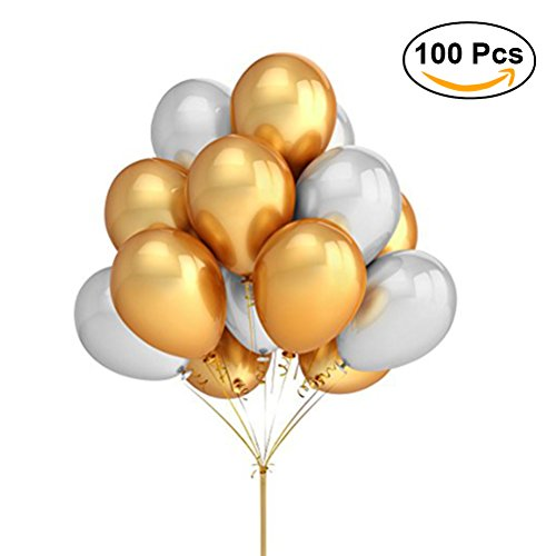 NUOLUX 100pcs 12 pulgadas perla látex globos para fiesta de cumpleaños de la novia (Golden + Silver)