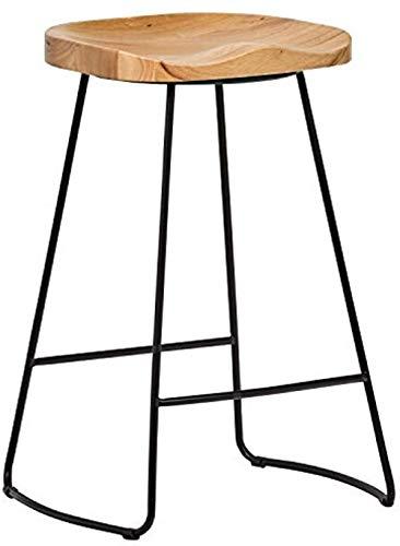 Marca Amazon - Taburete de barra de cocina industrial moderno de madera y metal Rivet25 6 HRobleNegro