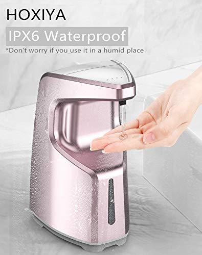 HOXIYA Dispenser di sapone automatico touchless 4 modalità Pro IPX6 per ufficio scolastico ospedaliero, aeroporto, dispenser di sapone liquido da banco o montato a parete Rosa 450 ml