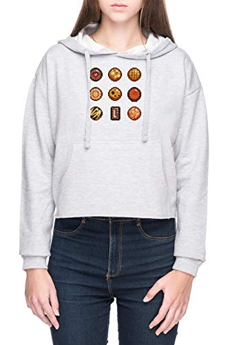 Vendax Kekse & Kekse Damen Bauchfreies Crop Kapuzenpullover Sweatshirt Grau Women's Crop Hoodie Grey