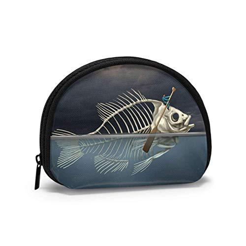 Mann mit Fischskelett im Meer Kajak-Geldbörse für Frauen Reißverschluss Kleine Taschen Brieftasche Draht Headset Pack