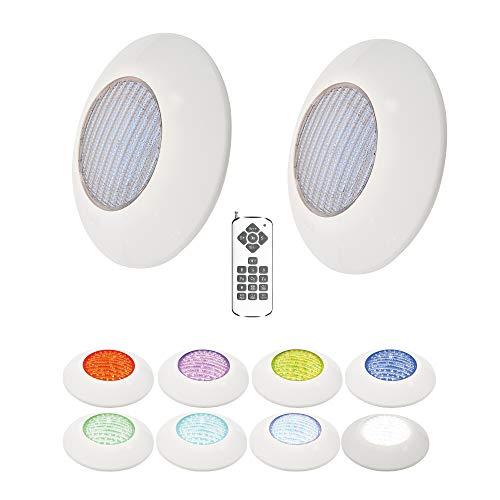 Foco Piscina Led 25W RGB 12 Colores Pack 2 + Mando - Instalación en Superficie de Piscina 2250 lumens Alta luminosidad - Slim Plus Nuevo DISEÑO Multicolor con tecnologia RGB - 12V Ø205 x 90mm