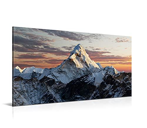 Cuadro Montaña Nevada - 150 x 80 x 2 cm - Decoración Moderna para Salón y Dormitorio - Lienzo de Poliéster y Bastidor de Madera, LEN-074
