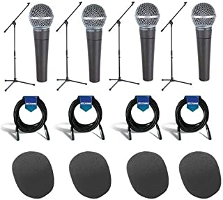Shure 4 Pack SM58-LC Cardioid Dynamic Handheld Wired Microphone - Bundle With 4x Samson MK10 LW Boom Mic Stand, 4x 20' 7mm Rubber XLR Mic Cable, 4x On-Stage ASWS58 Foam Windscreen