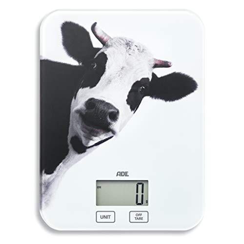 ADE Digitale Küchenwaage KE 1603 Inka. Elektronische Waage mit Lifestyle-Print Kuh, präzise wiegen bis 5 kg, Zuwiegefunktion Tara, LCD-Display, Sensor-Touch, Abschaltautomatik, inklusive Batterie