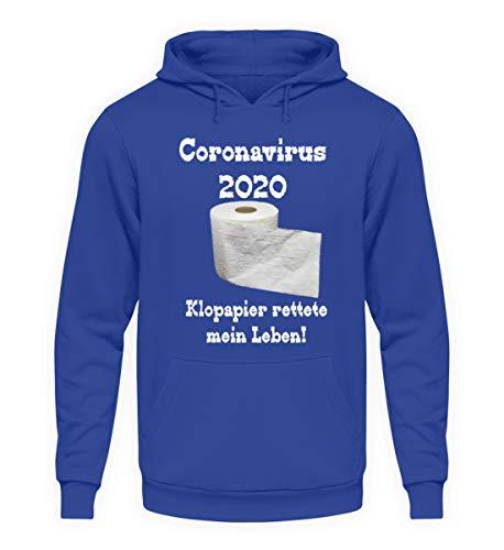 Coronavirus 2020 - Papel higiénico salvaba mi vida. - Sudadera unisex con capucha. azul real XXXL