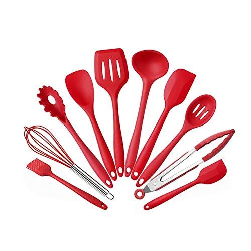 XMYNB Utensilios de cocina de silicona antiadherente utensilios de cocina herramienta de cocina espátula cucharón batidor de huevos pala, cuchara sopa utensilios de cocina conjunto