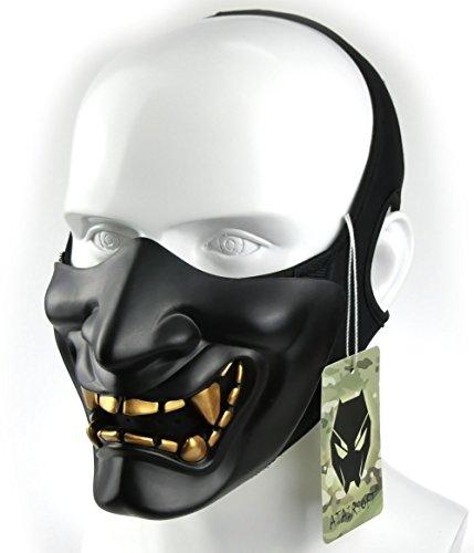 WorldShopping4U Taktische schützende Paintball Airsoft Kunststoff Cosplay Kabuki Samurai Dämon Halbe Gesichtsmaske Schwarz