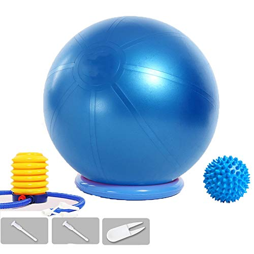 Gymnastikball, Yoga Ball Fitnessball mit Pumpa for Yoga, Pilates, Balance Stuhl, Fitness, Stabilitäts, Schwangerschaftsübungen Sitzball Pezziball (Color : Blue, Size : 75CM)