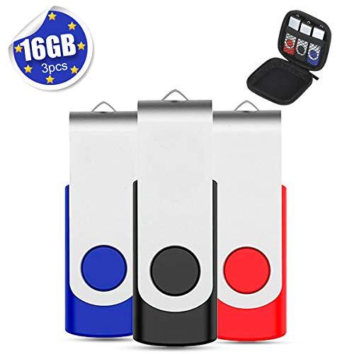 Lot de 3 Clé USB 16 Go EASTBULL USB 2.0 Flash Drive Carte Mémoire Stick Clef USB Pivotantes avec Sacoche à Fermeture Eclair
