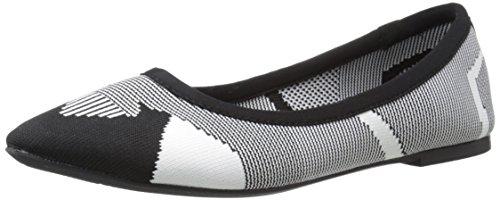 Skechers Women's Cleo Wham Flat, Black/White, 6 M US