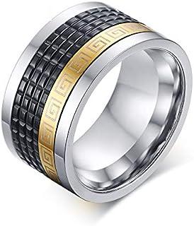 خاتم رجالي أسود ذهبي البوب ستانلس ستيل خاتم مجوهرات دوار فولاذ