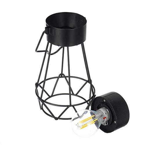 CKQ-KQ Buitenverlichting Retro Vintage Hangende metalen kooi op zonne-energie Light Outdoor Lantaarn van de Tuin met Bulb waterdichte Lamp