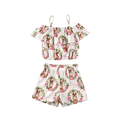 Baby Girl Easter Outfits Rabbit Floral Off Shoulder Shirt Ruffle Halter Crop Top Elastic Short Kid Girl Bunny Clothes White