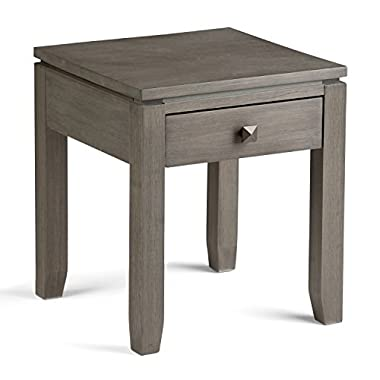 Simpli Home Cosmopolitan Solid Wood End Side Table, Farmhouse Grey