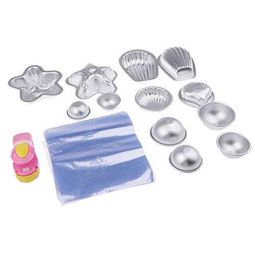MagiDeal 12pcs Moule en Aluminium avec Sac d'emballage et Mini Machine à Capper pour Savon de Bain DIY Fabrication de Savon/Pâte à Sucre/Pâtisserie/Décoration de Fondant