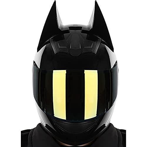 Casque Batman,Approuvé par La ECE Casque Intégral de Motocross,Hommes et Femmes Moto Électrique de Course Cool B,L=57~59CM