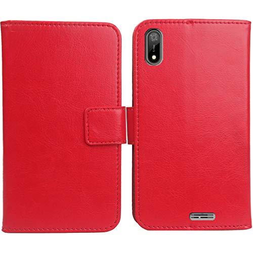 """Mengtu Housse Coque pour SFR Altice S33 5.7"""" PU Cuir Etui Leather Case Cover Flip Cas Couverture Protecteur Portefeuille Book Wallet (Rouge)"""