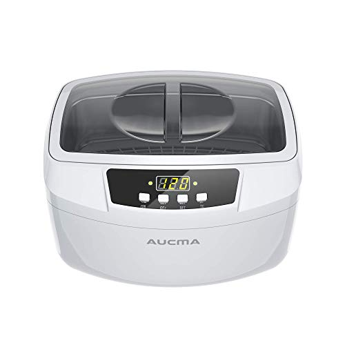 Ultrasonic Cleaner, Professional 160 Watts 2.5L Heated Ultrasonic Jewelry Cleaners Machine with Digital Timer, 2.6Qt/2.5 L (White)