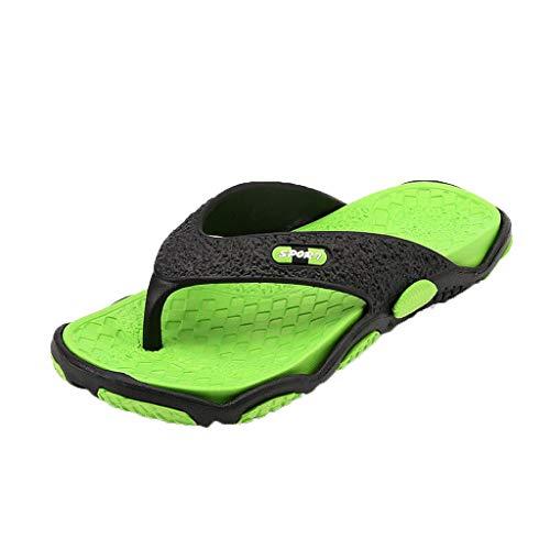 Peep Toe Sandals for Men Yellow Gold, Summer Men's Open Toe Slippers Fashion Beach Shoes Massage Bathroom Flip Flops, Green, US:8.5