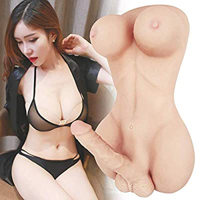 Life Size Shemale Sex Toy Real Silicone Big Breast Sex Dolls for Men Women Gay 3D Realistic Masturbator Adult Toys 2 in 1 Mixed Torso 8 Inch Penis Dildos Love Doll for Couples Massage Toy (21×11×8in)