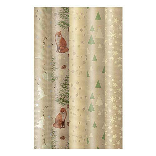 ARTEBENE Geschenkpapier Geschenkpapierbogen Geschenkpapierrolle Rolle 5er Set Weihnachtsset Weihnachten Weihnachtsmotive Bäume Sterne Tiere
