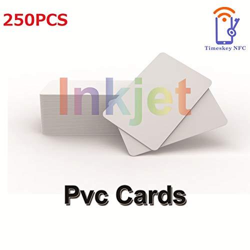 Tintenstrahl Druckbare PVC Identifikation Karten (250 Stück) Kompatibel Mit Epson und Canon Tintenstrahl Drucker, CR80 30 MIL,Wasserdichtes Material, Beide Seiten Können Bedruckt Werden-TimesKey