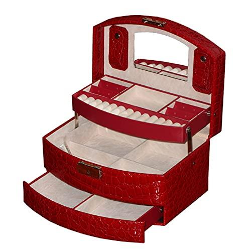YXD Caja de Joyería, Organizador de Joyas Grande, Cuero de Imitación, para Chicas, Mujeres, Mamá, Hija, Rojo, Rosa, Púrpura, con Espejo,Red