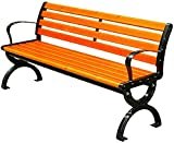 CDFC Patio Bench Garden Banco Banco al Aire Libre Metal Porch Silla Muebles de Madera de Hierro Fundido, para Parque Patio Patio Cubierta plástico Madera,120cm
