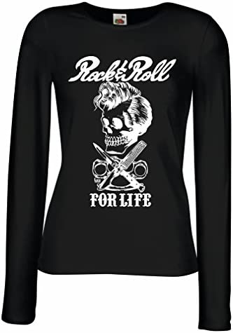 Camisetas de Manga Larga para Mujer Rock and Roll For Life