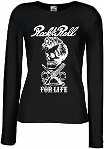 lepni.me Camisetas de Manga Larga para Mujer Rock and Roll For Life - 1960s, 1970s, 1980s - Banda de Rock Vintage - Musicalmente - Vestimenta de Concierto (X-Large Negro Multicolor)