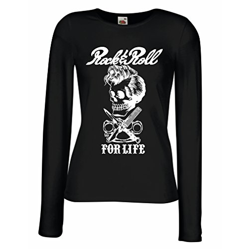 lepni.me Camisetas de Manga Larga para Mujer Rock and Roll For Life - 1960s, 1970s, 1980s - Banda de Rock Vintage - Musicalmente - Vestimenta de Concierto (X-Large Negro Multicolor)