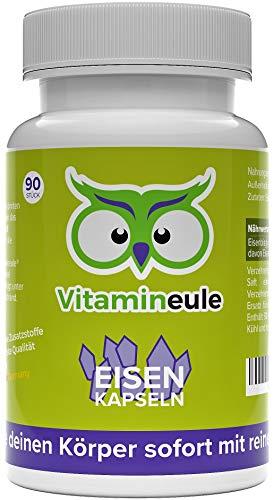 Eisen Kapseln hochdosiert & vegan - Eisenbisgylcinat - Qualität aus Deutschland - ohne Zusatzstoffe - kleine Kapseln statt große Eisentabletten - Eisen Bisglycinat Aktiv Wirkstoff - Vitamineule®