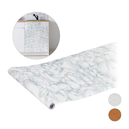 Relaxdays zelfklevende folie voor doe-het-zelvers, meubels & keuken, decoratiefolie zelfklevend, marmer-look, PVC, 45x200 cm, wit, 1