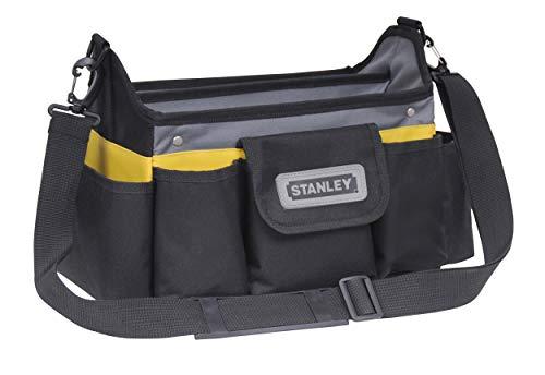 Stanley offene Werkzeugtasche (31 x 20 x 26 cm, acht äußere, zehn innere Taschen, Innenorganizer, 20 kg Ladekapazität, gummierter Handgriff, wasserabweisender Polypropylenboden) STST1-70718