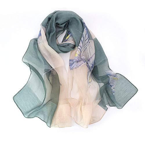 Poouooooy Damenschal Silky Flower Scarf Damenschal aus einer Seiden- und Wollmischung mit langem Joker Eleganter Schal @ Closed Moon Shame - Green_195cm