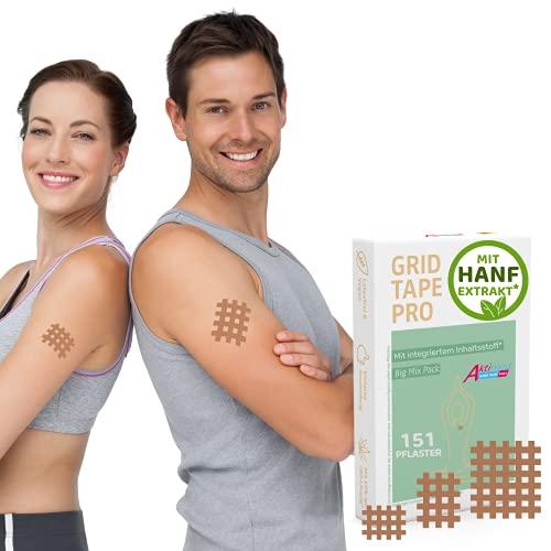 AKTIMED Grid Tape CannaPro - Premium Gittertape mit Synthetischem Hanf-Extrakt (10%)* Patentbasierte Akupunkturpflaster dermatologisch getestet - Crosstape Gitterpflaster Schmerz & Entzündungspunkte*
