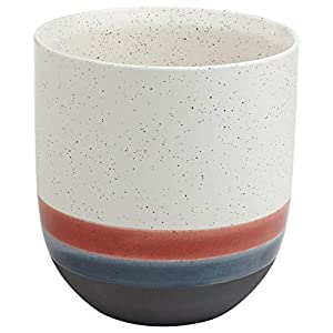 """Silk Flower Arrangements Amazon Brand – Rivet Westline Modern Indoor Outdoor Hand Painted Stoneware Planter Flower Pot, 8""""H, Red White Blue Black"""