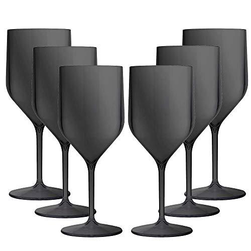 TUNDRA ICE INTERNATIONAL Set 6 Pezzi Croisiere 25 Cl in Policarbonato (Plastica Rigida), Calici vino 100% Design Italiano, Bicchieri Infrangibili, Riutilizzabili e Lavabili in Lavastoviglie, Nero